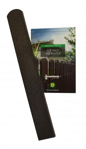 Materialmuster Zaunlatte 0,6 m mit halbrundem Kopf, braun, gratis nur 5 Euro Versandkosten
