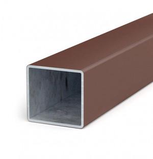 Zaunpfosten 60x60x2mm, Länge 6,0 m, verzinkt + Kunststoffmantel, braun